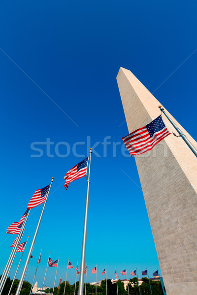 Stockfoto: Washington · DC · amerikaanse · vlaggen · Washington · Monument · wijk · gebouw