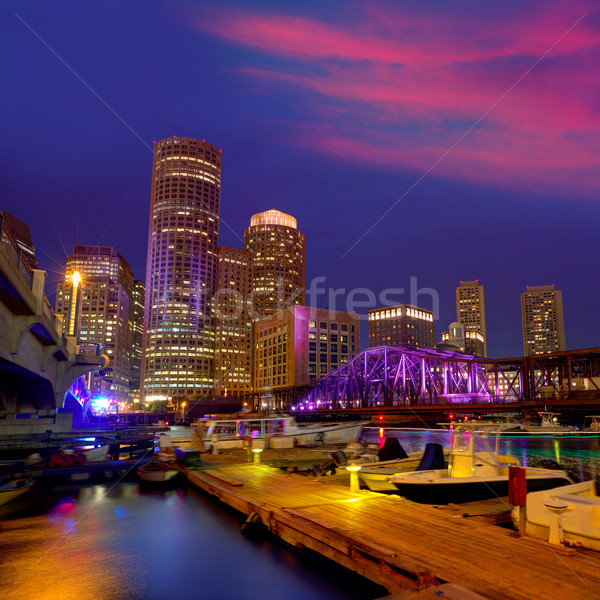 Boston tramonto skyline fan pier Massachusetts Foto d'archivio © lunamarina