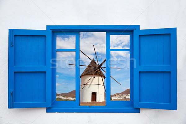 Almeria from window of Cabo de Gata windmill Stock photo © lunamarina