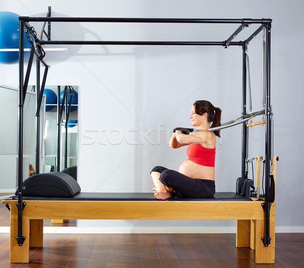pregnant woman pilates reformer arms exercise Stock photo © lunamarina
