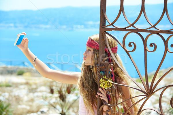 Sarışın kız fotoğraf akdeniz deniz kapı Stok fotoğraf © lunamarina