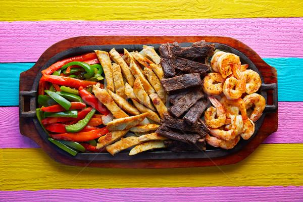 Foto stock: Mexicano · carne · de · vacuno · pollo · fajitas · camarón
