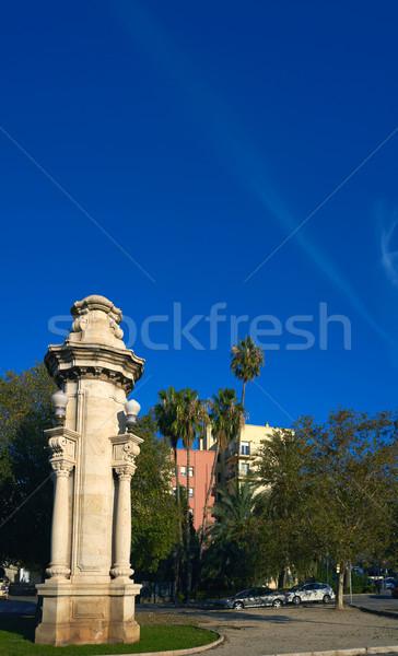 Oszlop Valencia Spanyolország fák kék épületek Stock fotó © lunamarina