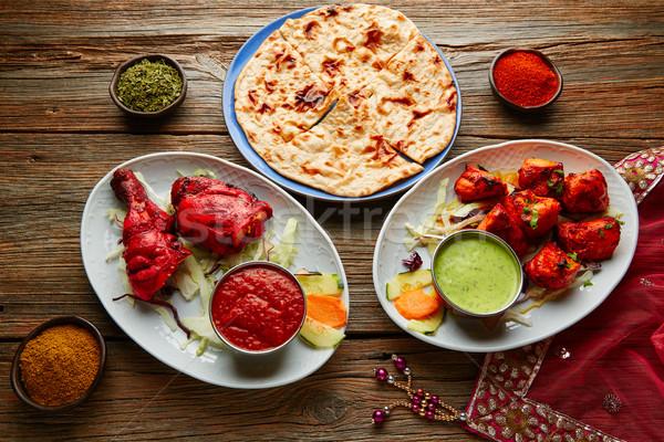 Chicken Tandoori and Chicken Tikka Stock photo © lunamarina