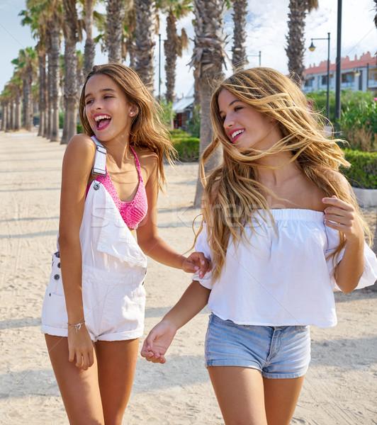 Stock photo: Teen best friends girls walking happy