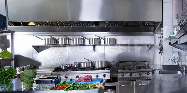 Profesional restaurante cocina acero inoxidable hortalizas carne Foto stock © lunamarina