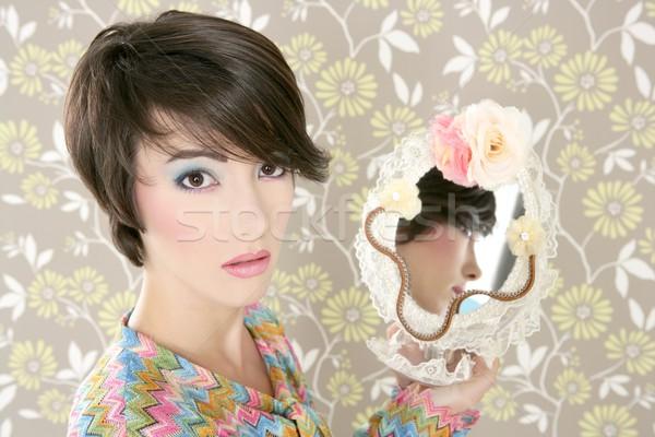 retro woman mirror fashion portrait tacky Stock photo © lunamarina