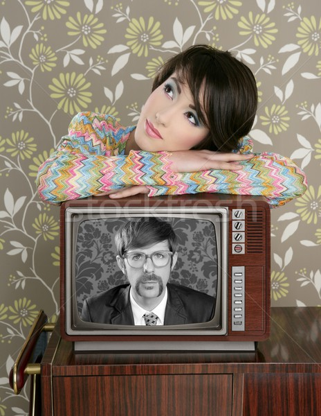 ретро женщину любви телевизор NERD герой Сток-фото © lunamarina