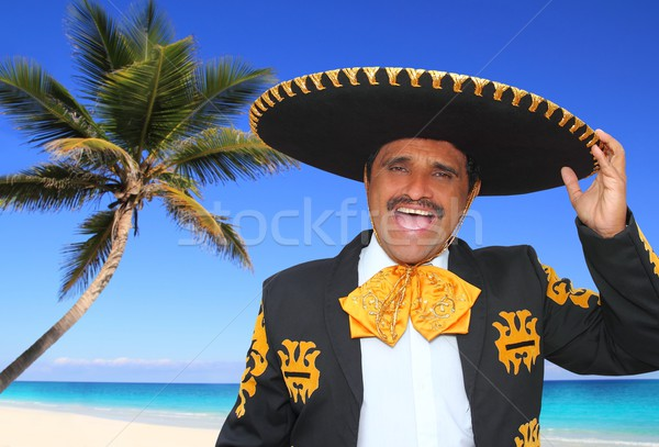 Charro mariachi singing shout in Mexico beach Stock photo © lunamarina