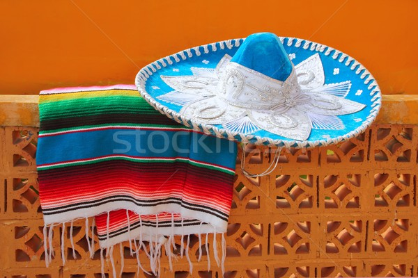 charro mariachi blue mexican hat serape poncho Stock photo © lunamarina