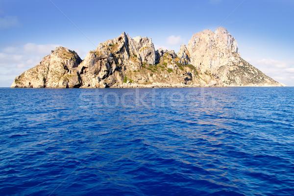Es Vedra islet and Vedranell islands blue sea Stock photo © lunamarina