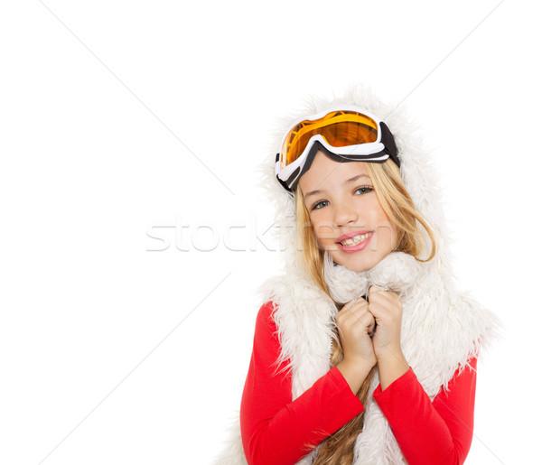 Foto stock: Criança · menina · neve · inverno · óculos · branco