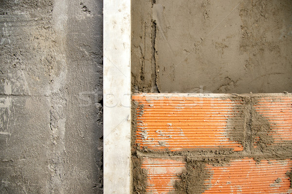 brickwall construction and mortar cement plaster Stock photo © lunamarina