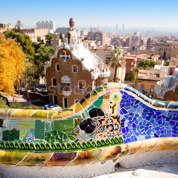 Barcelona park Guell fairy tale mosaic house Stock photo © lunamarina