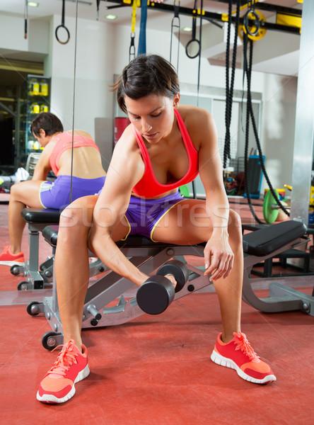 Crossfit fitness weight lifting Dumbbell woman at mirror Stock photo © lunamarina