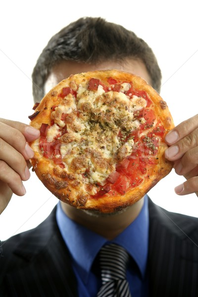 Stock photo: businessman and junk fast food, pizza