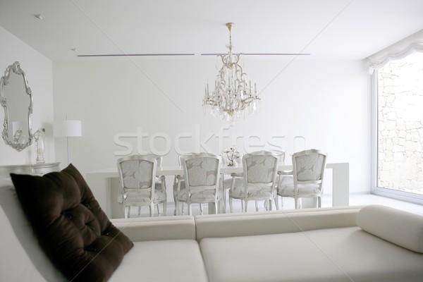 Dining room, lounge area white interior Stock photo © lunamarina