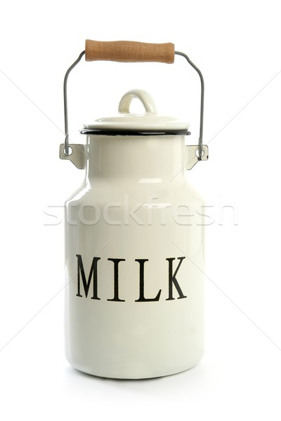 Stock photo: Milk urn white pot traditional farmer style
