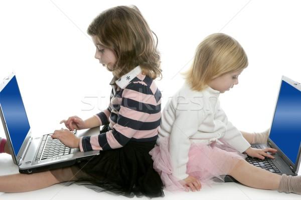 Сток-фото: два · сестра · компьютер · изучения