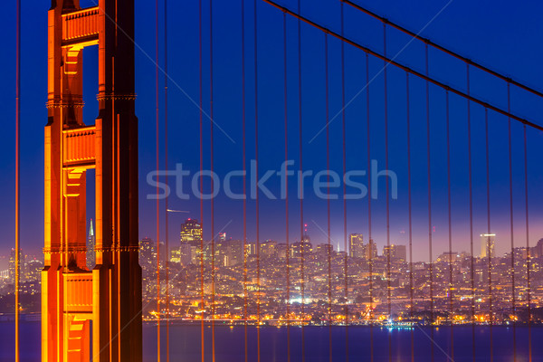 San Francisco Golden Gate Bridge coucher du soleil câbles vue Californie Photo stock © lunamarina