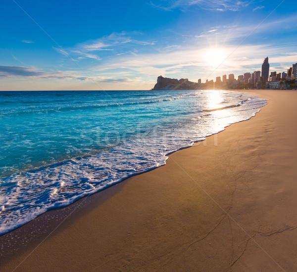 Stok fotoğraf: Plaj · gün · batımı · İspanya · gökyüzü · şehir · güneş