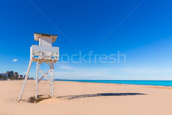 Strand Valencia middellandse zee Spanje toren natuur Stockfoto © lunamarina