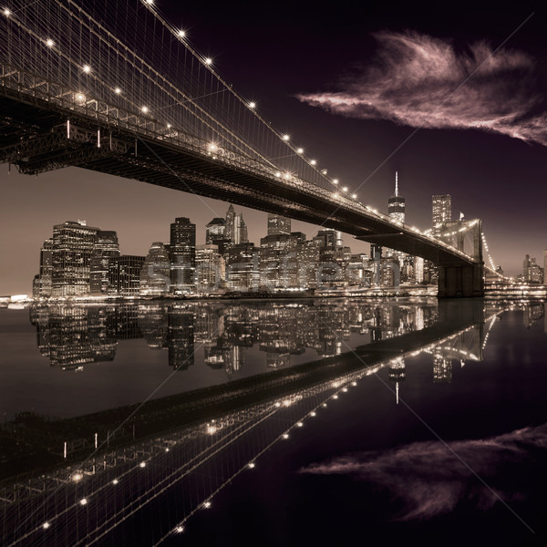 Pont coucher du soleil New York Manhattan Skyline ny Photo stock © lunamarina