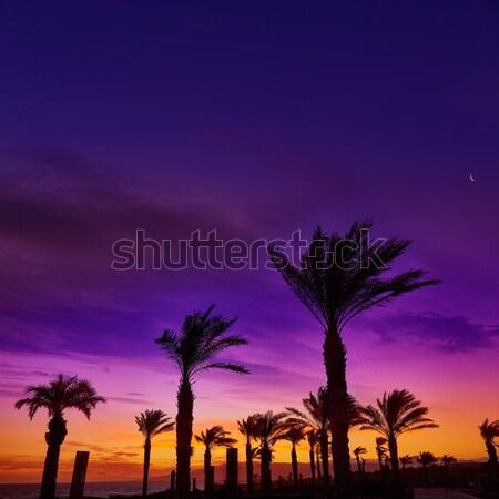 日没 ビーチ スペイン 空 水 雲 ストックフォト © lunamarina