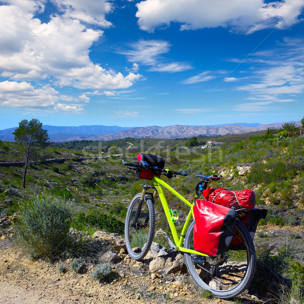 cycling tourism MTB bike in Pedralba Valencia with panniers Stock photo © lunamarina