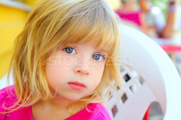 Blond petite fille portrait regarder caméra yeux bleus Photo stock © lunamarina