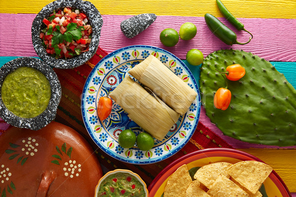 Mexikói kukorica levelek chili levél étterem Stock fotó © lunamarina