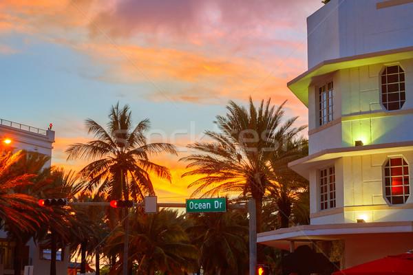 Stock fotó: Miami · dél · tengerpart · naplemente · óceán · vezetés