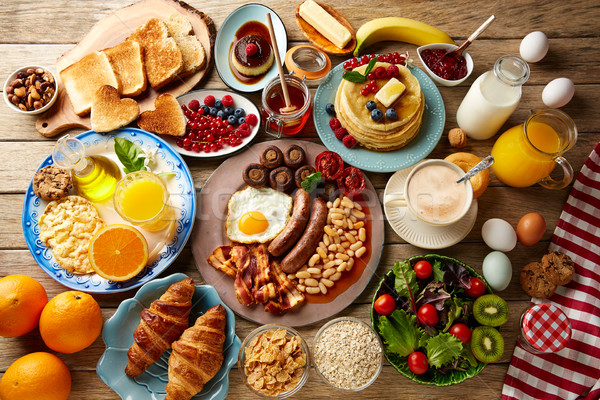 Breakfast buffet full continental and english Stock photo © lunamarina