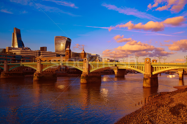 London Southwark bridge in Thames river Stock photo © lunamarina