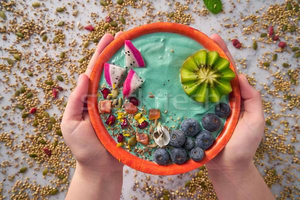 Tazón zalamero kiwi arándano semillas dragón Foto stock © lunamarina