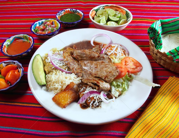 Grilled beef fillet assorted mexican dish chili sauce Stock photo © lunamarina