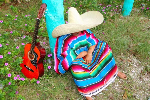 Mexikói lusta szombréró kalap férfi szieszta Stock fotó © lunamarina