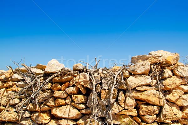 Mediterrânico secas alvenaria parede textura Foto stock © lunamarina