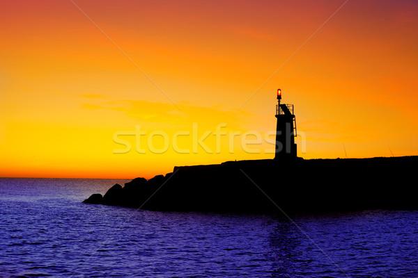 Gouden zonsopgang zonsondergang zee Rood baken Stockfoto © lunamarina