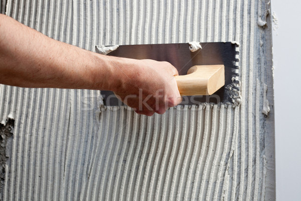 Photo stock: Construction · blanche · ciment · tuiles · travaux · texture