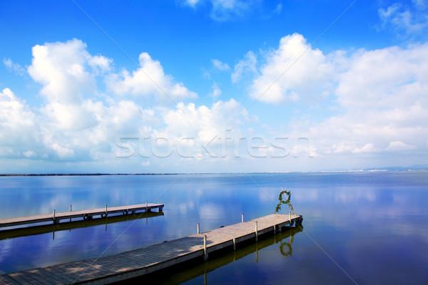 Tó Valencia kék ég víz fa természet Stock fotó © lunamarina