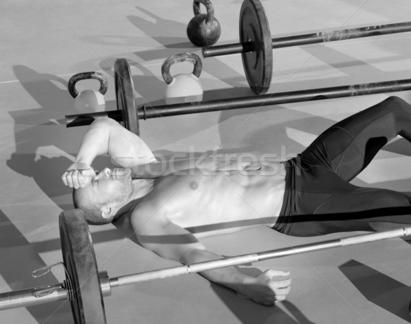 Stock photo: crossfit man tired relaxed after workout