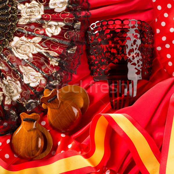 castanets fan and flamenco comb typical from Spain Stock photo © lunamarina