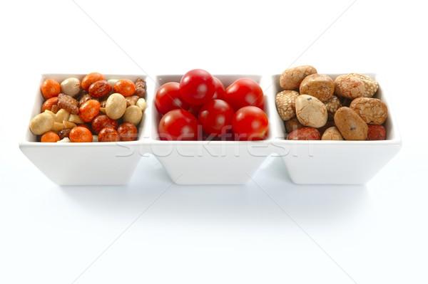 triple bowl with varied japanese snacks and tomatoes Stock photo © lunamarina