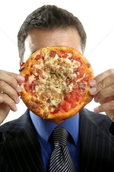 businessman and junk fast food, pizza Stock photo © lunamarina