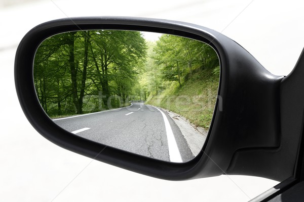 rearview car driving mirror view forest road Stock photo © lunamarina
