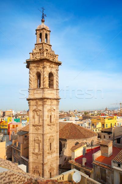 Mikulás templomtorony Valencia történelmi belváros Spanyolország Stock fotó © lunamarina