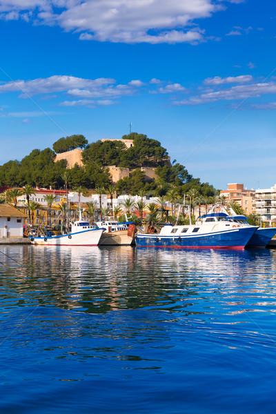 Denia Port with castle hill Alicante province Spain Stock photo © lunamarina