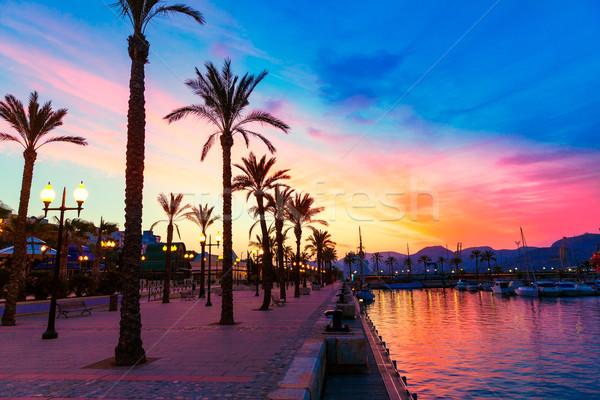 Kikötő marina naplemente Spanyolország mediterrán fa Stock fotó © lunamarina