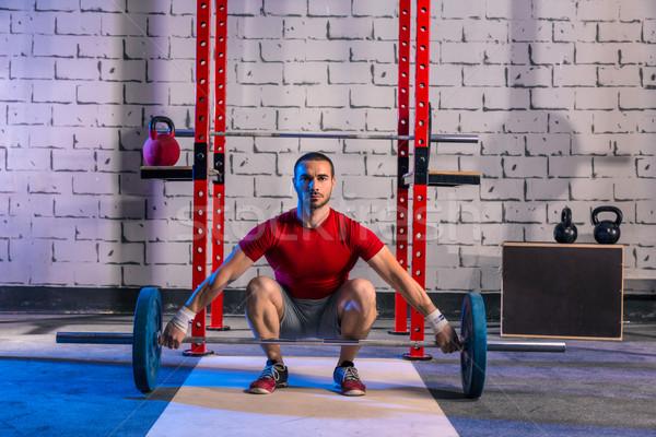 Barbell gewichtheffen man gewichtheffen training oefening Stockfoto © lunamarina